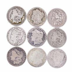 Lot of (9) Pre 1921 $1 Morgan Silver Dollar Coins