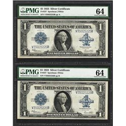 (2) Consecutive 1923 $1 Silver Certificate Notes Fr.237 PMG Choice Uncirculated 64