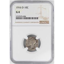 1916-D Mercury Dime Coin NGC G4