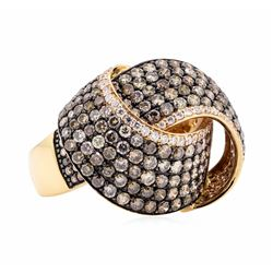 18KT Rose Gold 2.84 ctw Brown and White Diamond Ring