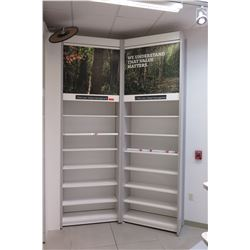 "2 Sections of Metal Wall-Mount Shelving (Each Section 37""W x 16""D x 10ft Tall), Top has cabinet door"