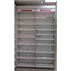 "2 Sections of Metal Wall-Mount Shelving (Each Section 37""W x 16""D x 10ft Tall)"