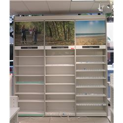 "3 Sections Metal Wall-Mount Shelving (Each Section 36""W x 16""D x 10ft Tall), Top has cabinet doors"