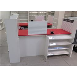 Reception/Cashier Station with Red Countertops, Cabinets, 3-Section Shelving Unit