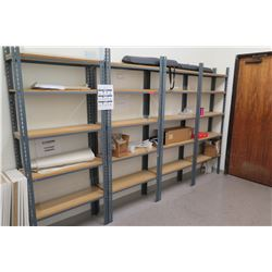 4 Freestanding Metal-Frame Industrial Shelving Units (contents of shelves not included)