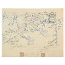 """Mickey's Nightmare"" Original Layout Drawing."