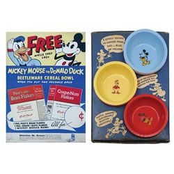 Mickey & Donald Post Cereal Bowls Promotional Display.