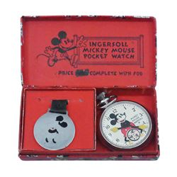 Ingersoll Mickey Mouse Pocket Watch with Fob.