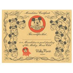 Mickey Mouse Club Membership Certificate.