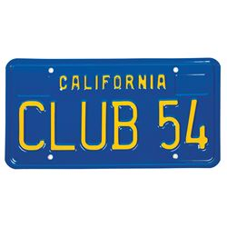 "Milt Albright ""Club 54"" California License Plate."
