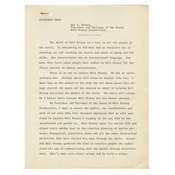 Roy O. Disney Press Statement on Walt's Death.