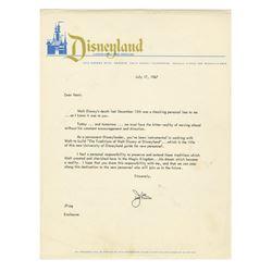 Joe Fowler Signed Disneyland Letter.