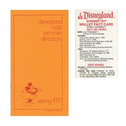 Disneyland Cast Services Directory & Wallet Fact Card.