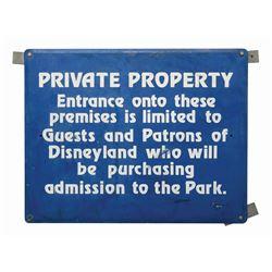 Disneyland Private Property Sign.