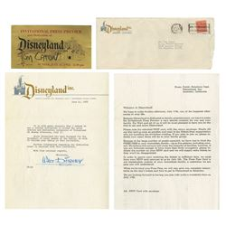 Disneyland Gold VIP Press Preview Ticket and Letter.