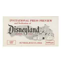 White Disneyland Opening Day Press Preview Ticket.