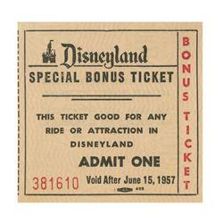 Disneyland Special Bonus Ticket.