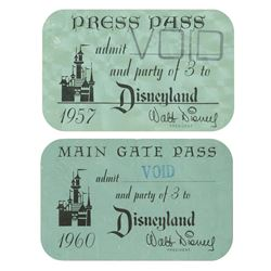 Pair of Vintage Disneyland Admission Passes.