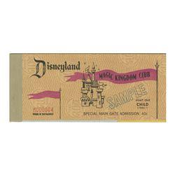Magic Kingdom Club Sample Ticket Book.