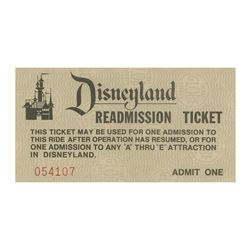 Disneyland Readmission Ticket.