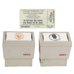 Pair of Disneyland Attraction Passport Stamps & Ticket.