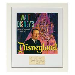 Framed Walt Disney Guidebook & Autograph.