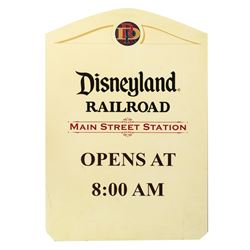 Disneyland Railroad Main Street Station Sign.