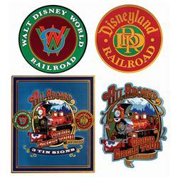 Set of (3) Disneyland & WDW Railroad Replica Signs.