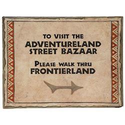Adventureland Street Bazaar Directional Sign.