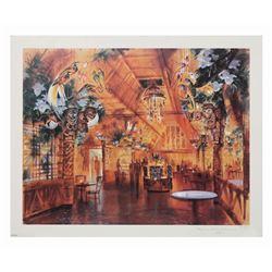 """John Hench """"Tiki Tea House"""" Tiki Room Lithograph."""