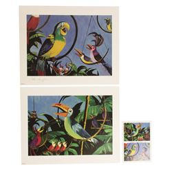 Signed Set of Collin Campbell Lithographs & Postcard.