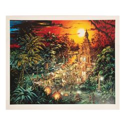 Signed Indiana Jones Adventure Concept Art Print.
