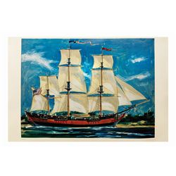 Large Sailing Ship Columbia Disneyland Hotel Print.