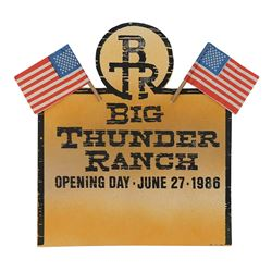 Big Thunder Ranch Opening Day Table Card.