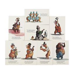 Set of (8) Country Bear Jamboree Postcards.