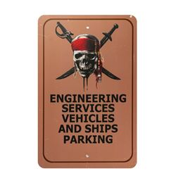 Pirates of the Caribbean Vehicle Parking Sign.