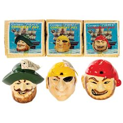 Group of (3) Pirates of the Caribbean Condiment Jars.