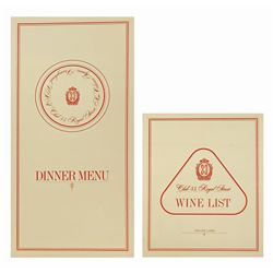 Club 33 Menu and Wine List .