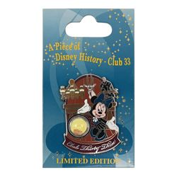 "Club 33 ""A Piece of Disney History"" Wood Paneling Pin."
