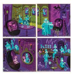 Set of (4) Haunted Mansion Shag Coasters.
