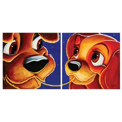 Pair of Lady and the Tramp Painting by Chris Dellorco.