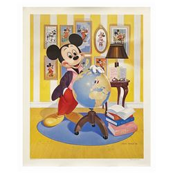 John Hench Signed Mickey's 60th Anniversary Lithograph.