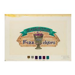 "Original ""Merlin's Fizz Elixirs"" Beverage Cart Drawing."