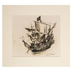 Signed Captain Hook's Pirate Ship Concept Print.