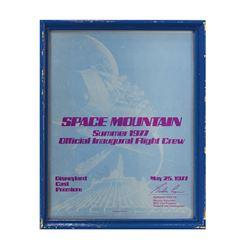 Space Mountain Inaugural Flight Crew Certificate.