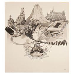 Original Disneyland Mountains Attraction Painting.