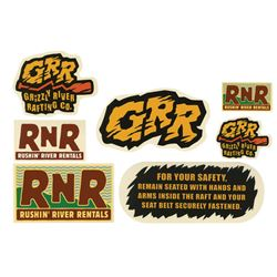 Set of (7) Grizzly River Run Prop Stickers.