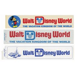 Set of (3) Walt Disney World Bumper Stickers.