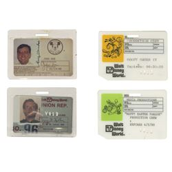 Group of (4) Walt Disney World Identification Cards.