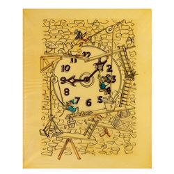 Original Drawing for Clock Cleaners Window Display.